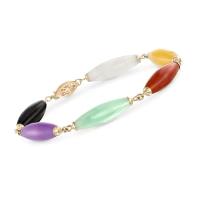 22x7mm Multicolored Jade Bead Bracelet with 14kt Yellow Gold