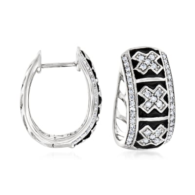.50 ct. t.w. Diamond and Black Enamel X Hoop Earrings in Sterling Silver