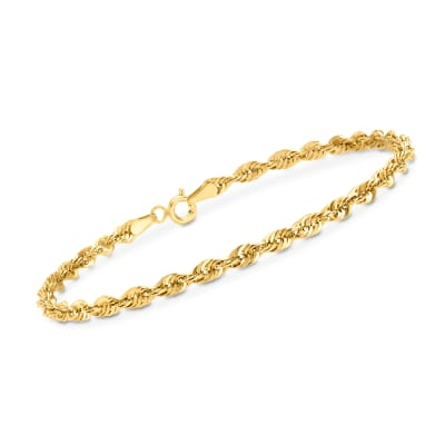 3.2mm 14kt Yellow Gold Rope Chain Bracelet