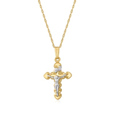 Child's 14kt Two-Tone Gold Crucifix Pendant Necklace