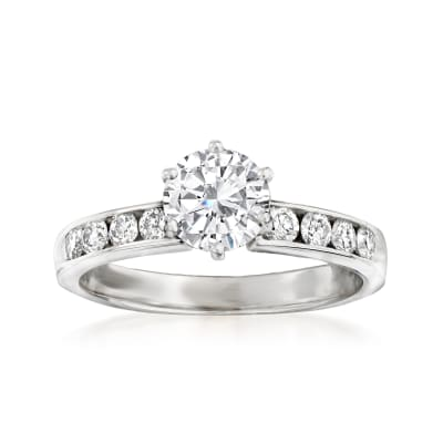 1.01 Carat Certified Diamond Solitaire Ring with .40 ct. t.w. Diamonds in 14kt White Gold