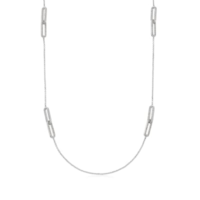 Charles Garnier 4.80 ct. t.w. CZ Paper Clip Link Station Necklace in Sterling Silver