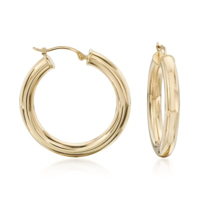4mm 14kt Yellow Gold Polished Hoop Earrings