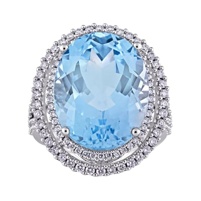 20.00 Carat Sky Blue Topaz Ring with .93 ct. t.w. Diamonds in 14kt White Gold