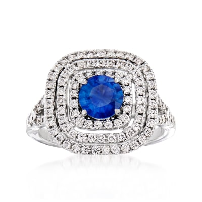 C. 2000 Vintage Tresorra .75 Carat Sapphire and .68 ct. t.w. Diamond Ring in 18kt White Gold