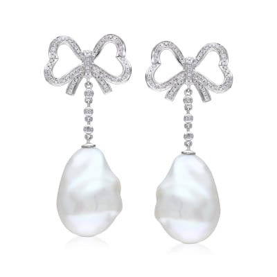 13mm Cultured Baroque Pearl and .49 ct. t.w. Diamond Bow Drop Earrings in 14kt White Gold