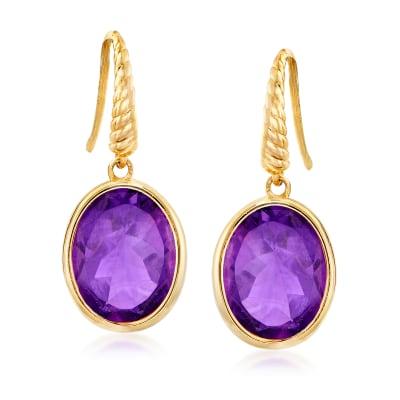 4.50 ct. t.w. Amethyst Drop Earrings in 14kt Yellow Gold