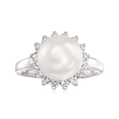 10mm Cultured Pearl and .70 ct. t.w. White Topaz Ring in Sterling Silver