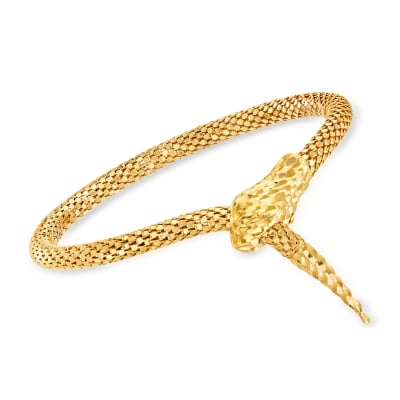 Italian 18kt Gold Over Sterling Silver Diamond-Cut Snake Bracelet