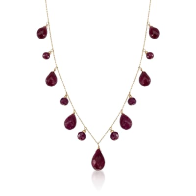 34.15 ct. t.w. Ruby Drop Necklace in 14kt Yellow Gold