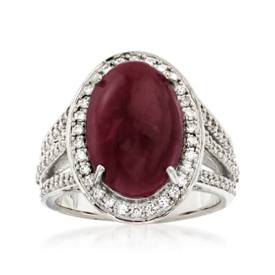10.50 Carat Ruby and .64 ct. t.w. Diamond Ring in 14kt White Gold