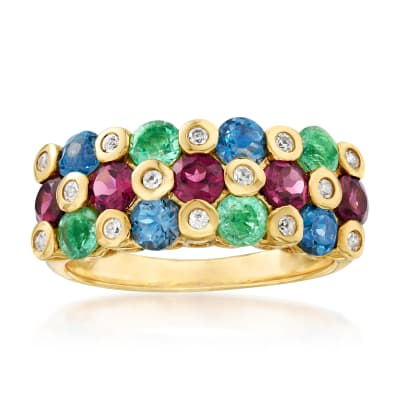 2.80 ct. t.w. Multi-Gemstone Ring in 18kt Gold Over Sterling