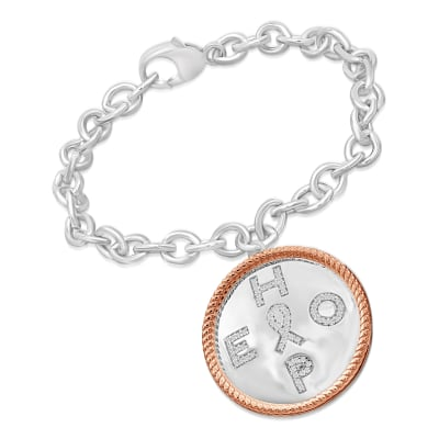 ".20 ct. t.w. Diamond ""Hope"" Charm Bracelet with Cancer Ribbon in Two-Tone Sterling"