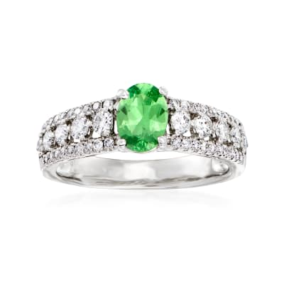 C. 1990 Vintage .72 Carat Tsavorite and .63 ct. t.w. Diamond Ring in 18kt White Gold