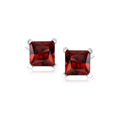 2.30 ct. t.w. Princess-Cut Garnet Stud Earrings in Sterling Silver