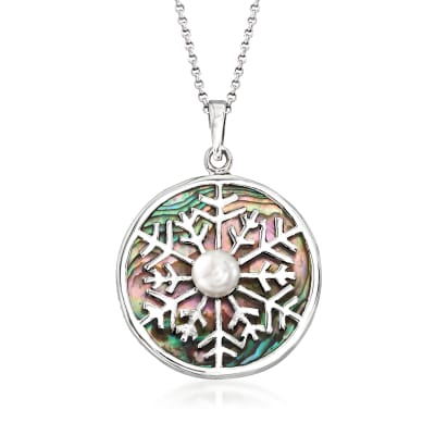 Abalone Shell and 7mm Cultured Pearl Snowflake Pendant Necklace in Sterling Silver