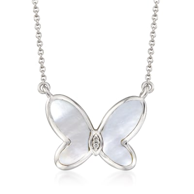Mother-Of-Pearl Butterfly Necklace with Diamond Accents in Sterling Silver