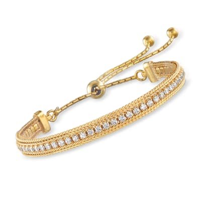 Italian 2.00 ct. t.w. CZ Bolo Bracelet in 18kt Gold Over Sterling
