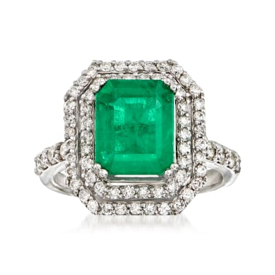 3.00 Carat Emerald and 1.60 ct. t.w. Diamond Ring in 14kt White Gold