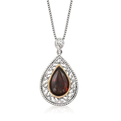 Amber Pendant Necklace in Sterling Silver with 14kt Yellow Gold