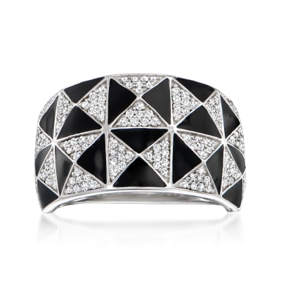 .49 ct. t.w. Diamond and Black Enamel Geometric Ring in Sterling Silver
