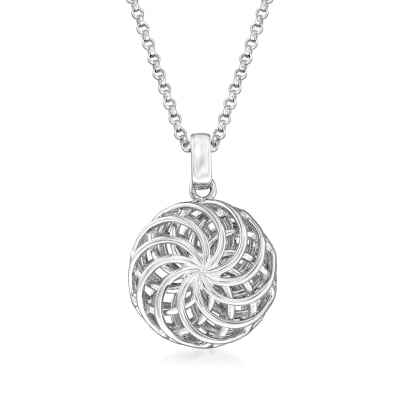 Italian Sterling Silver Openwork Swirl Pendant Necklace