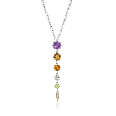 "Andrea Candela ""Fugaz"" 4.40 ct. t.w. Multi-Gemstone and Diamond Drop Necklace in 18kt Gold and Sterling"