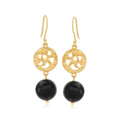 Tigereye Openwork Drop Earrings in 18kt Gold Over Sterling