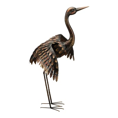 Regal Bronze Wings Out Crane Outdoor Statue