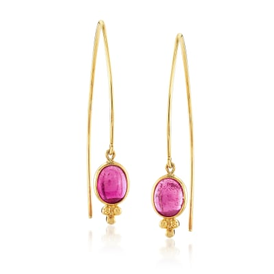 Mazza 4.80 ct. t.w. Pink Tourmaline Drop Earrings in 14kt Yellow Gold