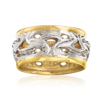 Italian Two-Tone Sterling Silver Byzantine Ring