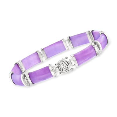 "Purple Jade ""Good Fortune"" Bracelet in Sterling Silver"