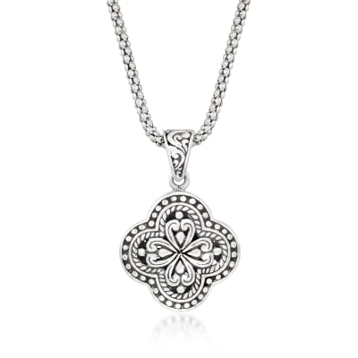 Sterling Silver Bali-Style Clover Pendant Necklace