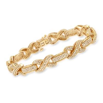 2.50 ct. t.w. Diamond X Bracelet in 18kt Gold Over Sterling
