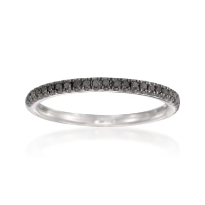 Henri Daussi .15 ct. t.w. Black Pave Diamond Wedding Ring in 18kt White Gold