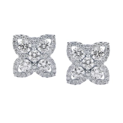 .95 ct. t.w. Diamond Flower Earrings in 18kt White Gold