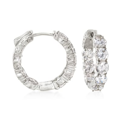 7.00 ct. t.w. CZ Inside-Outside Hoop Earrings in Sterling Silver