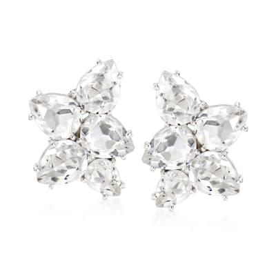 Rock Crystal Cluster Earrings in Sterling Silver