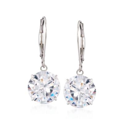 7.00 ct. t.w. CZ Drop Earrings in 14kt White Gold