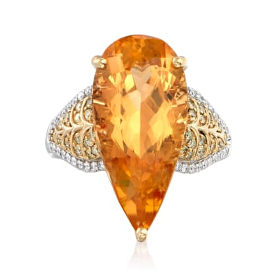 11.00 Carat Yellow Topaz and .42 ct. t.w. Diamond Pear-Shaped Ring in 18kt Two-Tone Gold