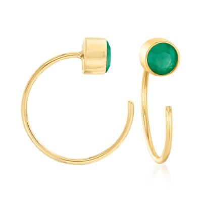 .50 ct. t.w. Emerald C-Hoop Earrings in 14kt Yellow Gold