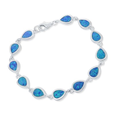 Blue Synthetic Opal Teardrop Tennis Bracelet in Sterling Silver
