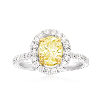 C. 2000 Vintage 2.25 ct. t.w. Certified Yellow and White Diamond Halo Ring in 18kt White Gold