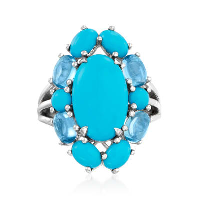 Turquoise and .24 ct. t.w. Swiss Blue Topaz Ring in Sterling Silver