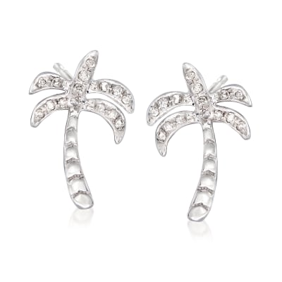 .10 ct. t.w. Diamond Palm Tree Stud Earrings in Sterling Silver