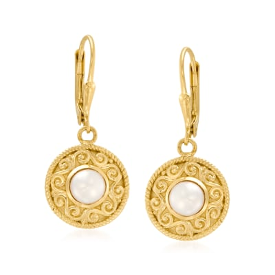 6mm Cultured Pearl Drop Earrings in 18kt Gold Over Sterling