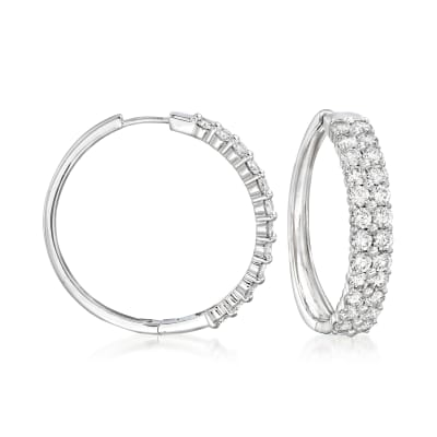 4.00 ct. t.w. Diamond Double-Row Hoop Earrings in 14kt White Gold
