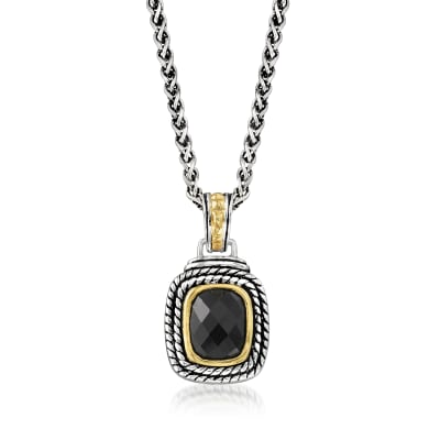 Black Onyx Pendant Necklace in Sterling Silver and 14kt Yellow Gold