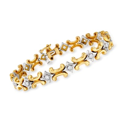 C. 1980 Vintage 1.30 ct. t.w. Diamond Bracelet in 14kt Two-Tone Gold