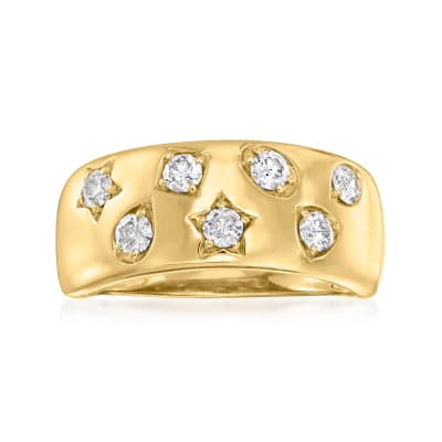 .50 ct. t.w. Diamond Star Ring in 18kt Gold Over Sterling